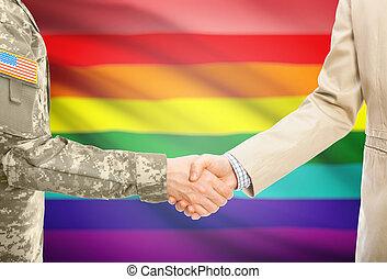 usa, gens, civil, national, mains, -, uniforme, lgbt, drapeau, fond, complet, militaire, secousse, homme