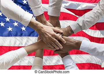 usa, gens, union, sur, mains, nous, ou, équipe,...