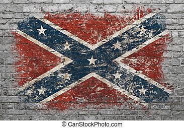 usa, geverfde muur, vlag, verbonden, baksteen