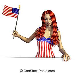 USA Girl with Flag Near an Edge