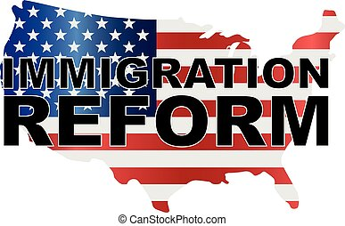 USA Government Immigration Reform US Map Illustration