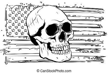 usa., gráficos, bandera, vector, ilustración, cráneo