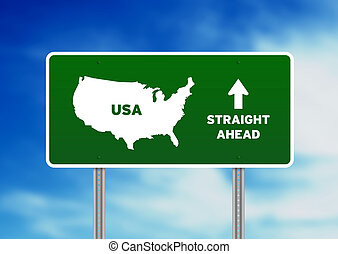 USA Green Highway Sign - High resolution graphic of a green...
