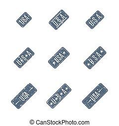 USA grunge stamps, vector illustration.