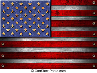 USA Grunge Wood Flag - Usa grungy wooden flag with the heads...
