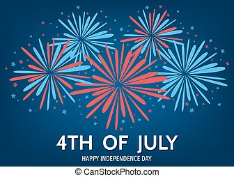 USA happy Independence Day background with fireworks. - 4th...