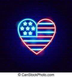 USA Heart Neon Sign