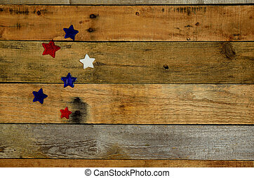 USA Holiday stars on pallet wood
