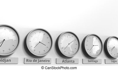 usa, horloge, projection, dans, rond, atlanta, temps, conceptuel, mondiale, animation, zones., 3d