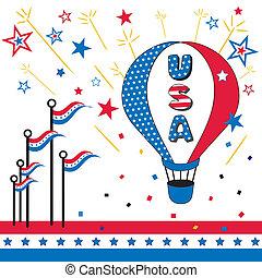 USA, Hot Air Balloon - USA, Stars and Stripes, hot air...
