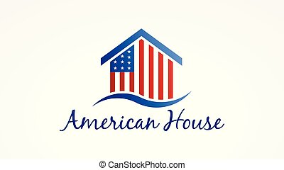 Usa House with american flag. Vector Logo Symbol