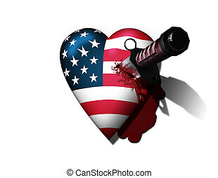 USA Hurt - USA Heart Stabbed by Knife