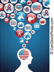 usa, icônes, décision, politique, élections, homme
