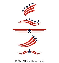 Usa icon set in red and blue. stars and stripes