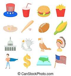 Usa icons set, cartoon style