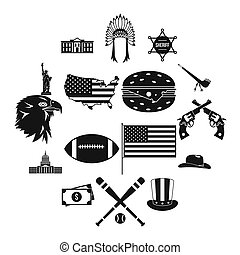 USA icons set, simple style