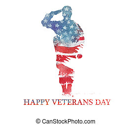 usa, illustration., flag., watercolor, amerika, vegterans, ...