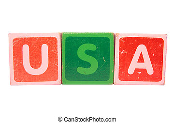 usa in toy letters