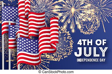 USA Independence day. Big banner with waving American national flags and fireworks. 4th of July poster template