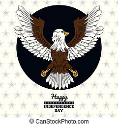 USA independence day card with eagle