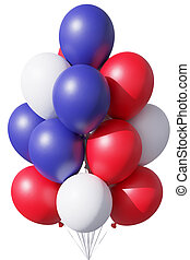 USA Independence Day patriotic balloons in traditional colors on white.