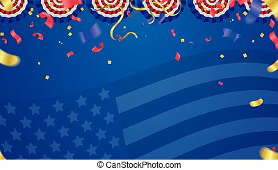 USA Independence day poster with air balloons and with a...