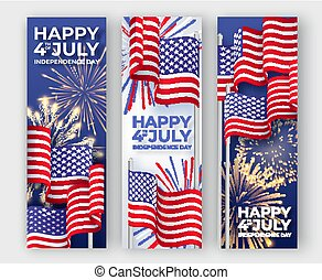 USA Independence day. Three vertical banners with waving American national flags and fireworks. 4th of July poster templates
