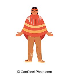 usa indian man cartoon vector design