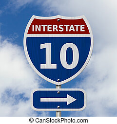 USA Interstate 10 highway sign, Red, white and blue interstate highway road sign with number 10 with sky background
