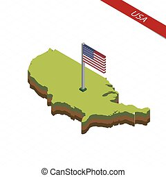 USA Isometric map and flag. Vector Illustration.