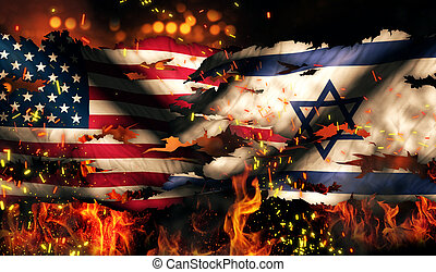 USA Israel National Flag War Torn Fire International ...