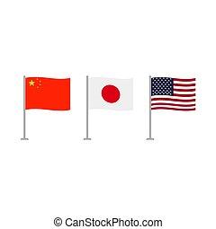 usa, japán, és, kína, zászlók