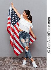 usa, jonge, vlag, vasthouden, meisje, vrolijke