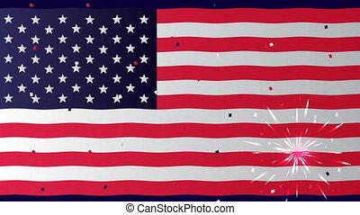 usa, jour, célébration, indépendance, drapeau