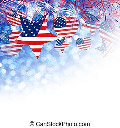 usa, juillet, forme, étoile, indépendance, conception, coeur, autre, fond, jour, 4, feud'artifice, drapeau, célébration