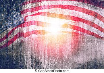 usa, juillet, ou, 4ème, fond, monument commémoratif vétérans, grunge, jour, drapeau, day.