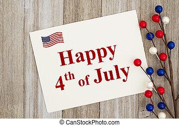 usa, köszönés, 4 july, kártya, boldog