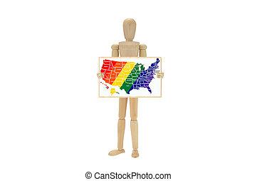 usa, kaart, vrolijke trots, kleuren