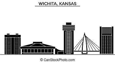 Usa, Kansas, Wichita architecture vector city skyline,...