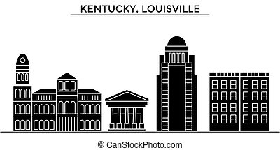 Usa, Kentucky, Louisville architecture vector city skyline, travel cityscape with landmarks, buildings, isolated sights on background