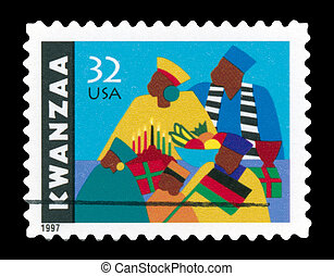 USA - CIRCA 1997- Kwanzaa holiday postage stamp shows an African-American family observing the celebrations . Design by Synthia Saint James, circa 1997.