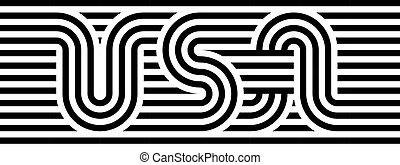 USA label. Striped design element. Symbol of United States of America