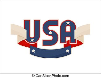 USA Label with National American Symbolism Banner