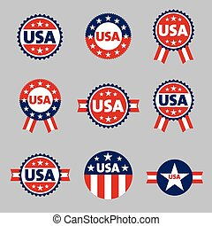 USA labels, sign, tag vector set