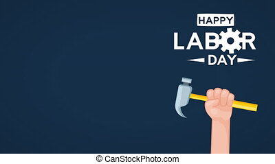 usa labor day celebration with hand lifting hammer ,4k video...