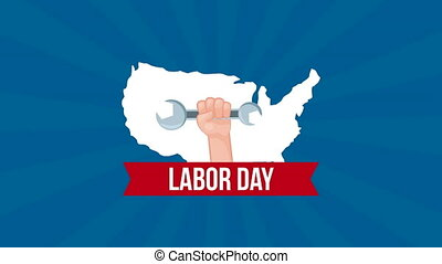 usa labor day celebration with map
