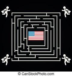 usa, labyrint, winnen, -, verkiezingen, competitie, verkiezing, woning, witte , presidentieel