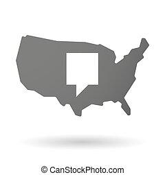 usa, landkarte, ikone, mit, a, tooltip