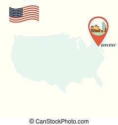 usa, landkarte, mit, boston, stift, reise, begriff