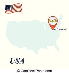 usa, landkarte, mit, pittsburgh, stift, reise, concept.